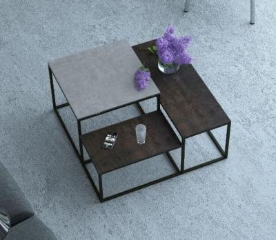 Brasilia Natural and Steel Ceramic Top Multi Level Coffee Table