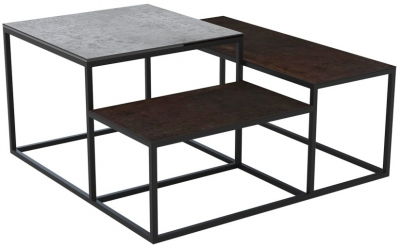 Brasilia Silver and Steel Ceramic Top Multi Level Coffee Table