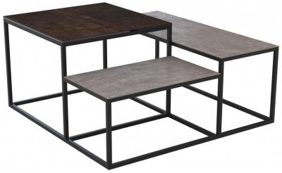 Brasilia Steel and Natural Ceramic Top Multi Level Coffee Table