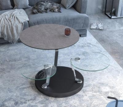 Cadran Natural Ceramic and Glass Multi Level Swivel Coffee Table