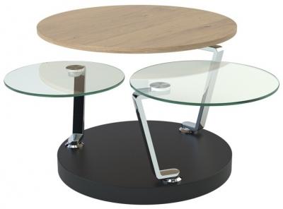 Cadran Oak and Glass Multi Level Swivel Coffee Table