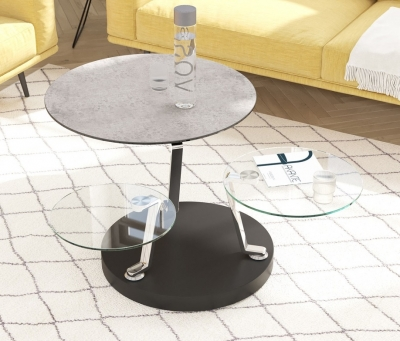 Cadran Silver Ceramic and Glass Multi Level Swivel Coffee Table