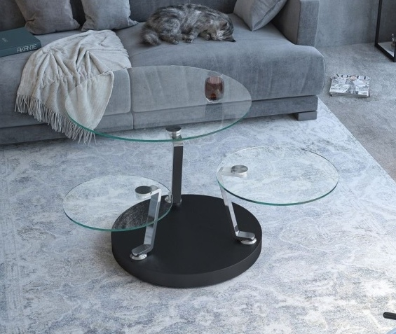 Cadran Clear Glass Multi Level Swivel Coffee Table
