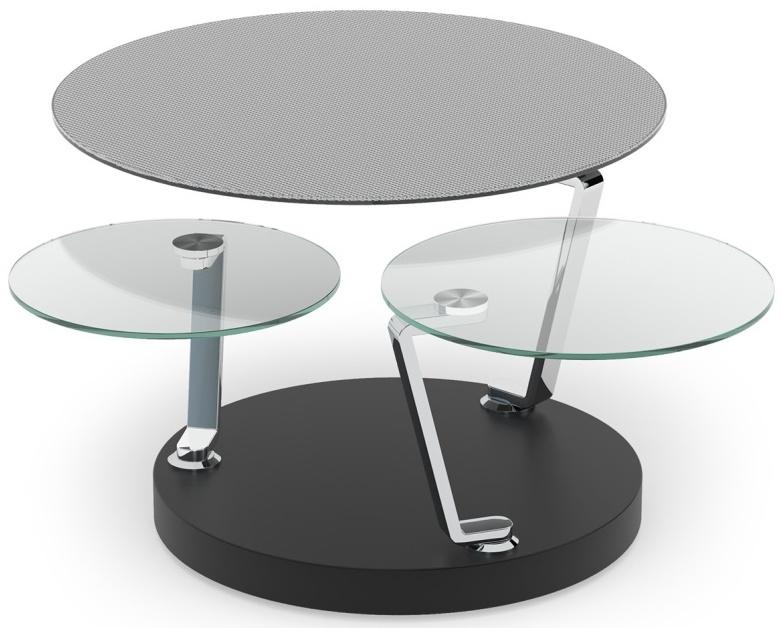 Cadran Mesh and Glass Multi Level Swivel Coffee Table