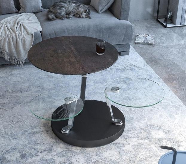 Cadran Steel Ceramic and Glass Multi Level Swivel Coffee Table