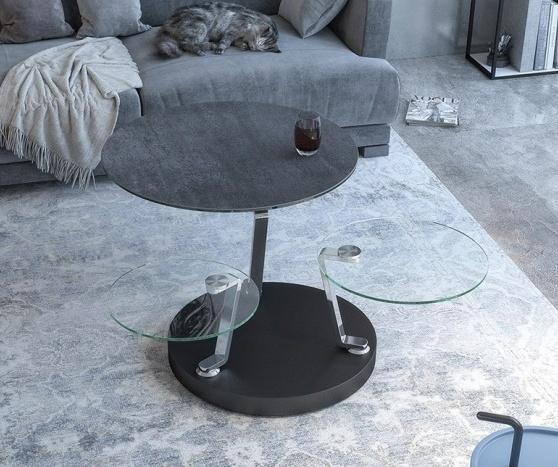 Cadran Titanium Ceramic and Glass Multi Level Swivel Coffee Table