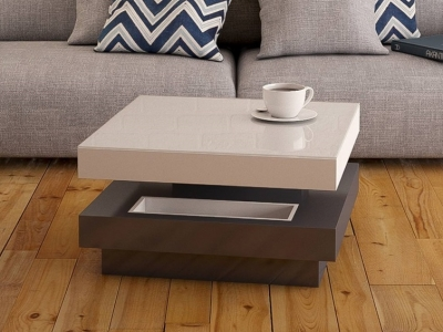 Celia Roulette White and Grey High Gloss Coffee Table