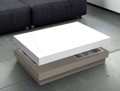 Celia White and Taupe Large Coffee Table