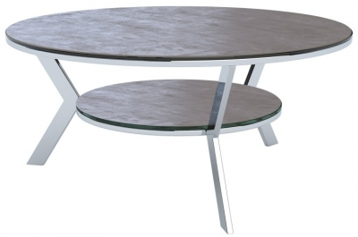 Ellipse Natural Ceramic and Chrome Coffee Table
