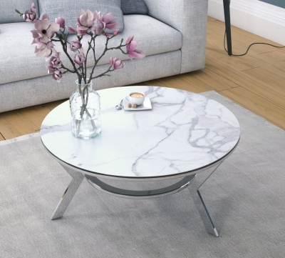 Ellipse Marble Effect Ceramic and Chrome Coffee Table