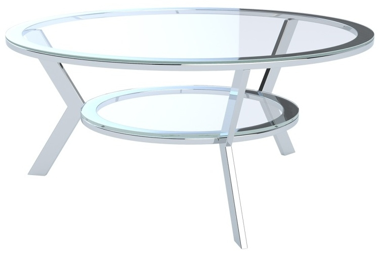 Ellipse Crystal Glass and Chrome Coffee Table