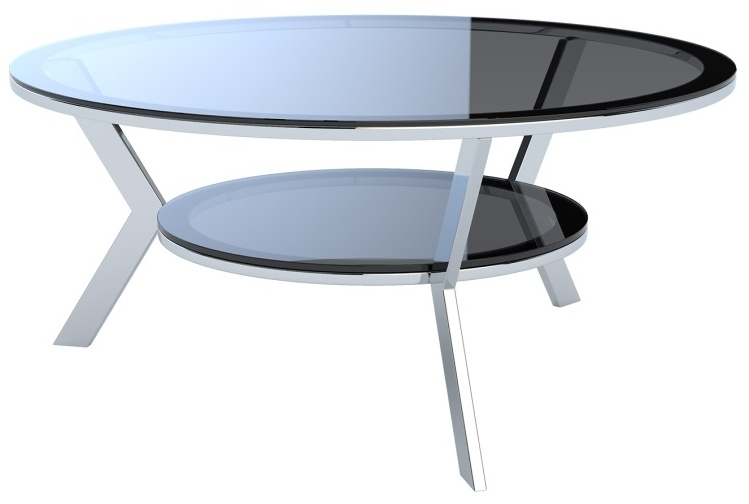 Ellipse Grey Glass and Chrome Coffee Table
