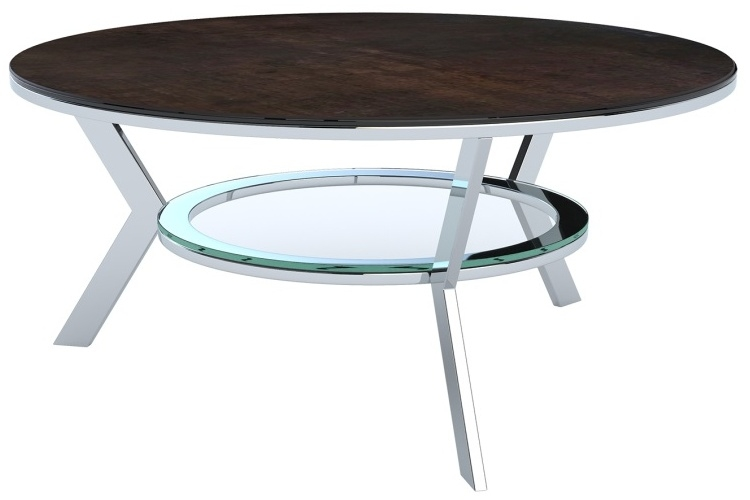 Ellipse Steel Ceramic and Chrome Coffee Table