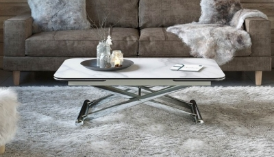 Enora Marble Effect Ceramic and Chrome Extending Coffee Table
