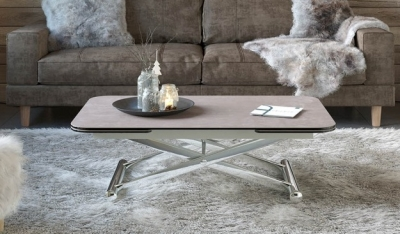Enora Natural Ceramic and Chrome Extending Coffee Table