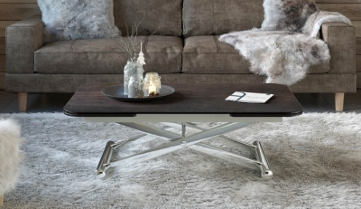 Enora Steel Ceramic and Chrome Extending Coffee Table