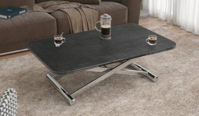 Enora Titanium Ceramic and Chrome Extending Coffee Table