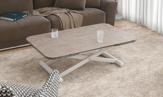 Enora Natural Ceramic and Pearl Grey Extending Coffee Table