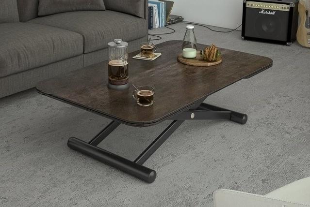 Enora Steel Ceramic and Black Extending Coffee Table