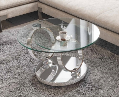 Eolia Clear Glass and Chrome Swivel Coffee Table