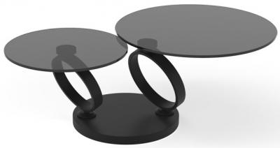 Eolia Grey Glass and Black Swivel Coffee Table