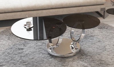 Eolia Grey Glass and Chrome Swivel Coffee Table