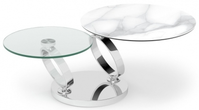 Eolia Marble Effect Ceramic and Chrome Swivel Coffee Table