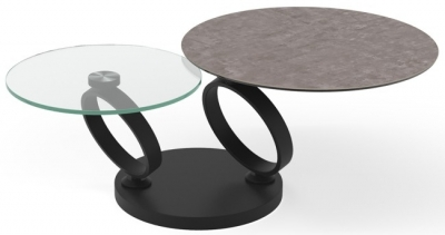 Eolia Natural Ceramic and Black Swivel Coffee Table