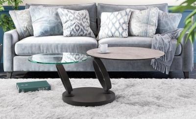 Eolia Silver Ceramic and Black Swivel Coffee Table