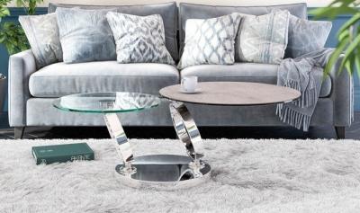 Eolia Silver Ceramic and Chrome Swivel Coffee Table