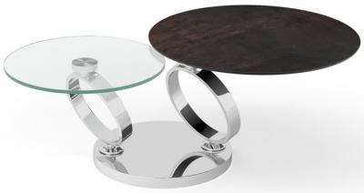 Eolia Steel Ceramic and Chrome Swivel Coffee Table
