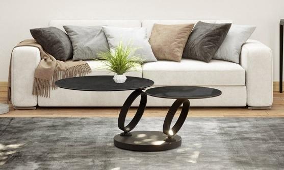 Eolia Titanium Ceramic and Black Swivel Coffee Table