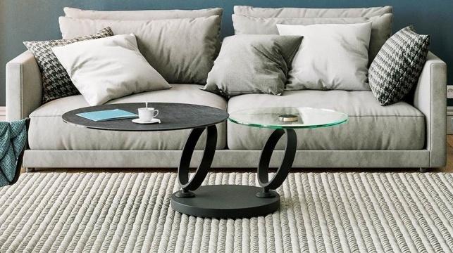 Eolia Titanium Ceramic and Glass Swivel Coffee Table