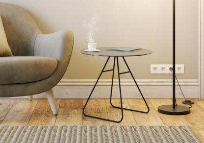 Iris Natural Ceramic Top Side Table