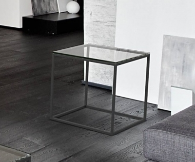 Julia Clear Glass and Black Side Table