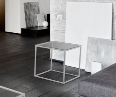Julia Clear Glass and Chrome Side Table