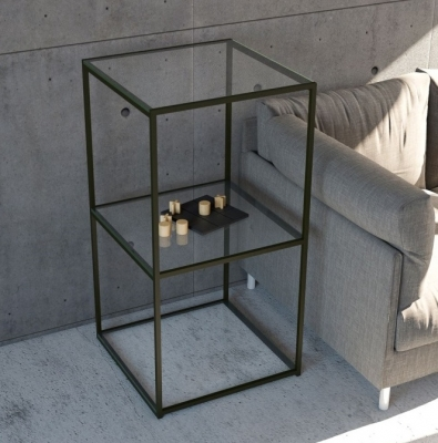 Julia Colonne Clear Glass and Black Side Table