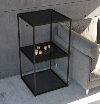 Julia Colonne Grey Glass and Black Side Table