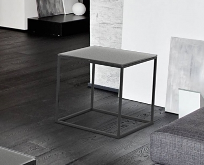 Julia Grey Frosted Glass and Black Side Table