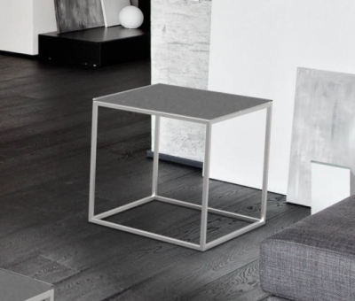 Julia Grey Frosted Glass and Chrome Side Table
