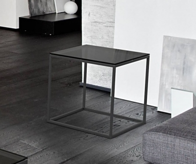 Julia Grey Glass and Black Side Table