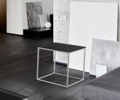 Julia Grey Glass and Chrome Side Table
