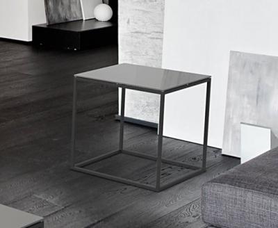 Julia Light Grey Glass and Black Side Table