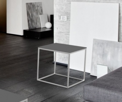 Julia Light Grey Glass and Chrome Side Table