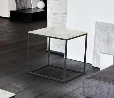 Julia Marble Effect Ceramic and Black Side Table