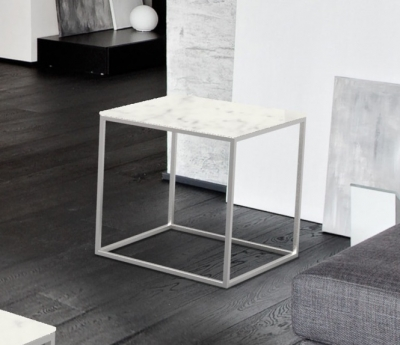 Julia Marble Effect Ceramic and Chrome Side Table