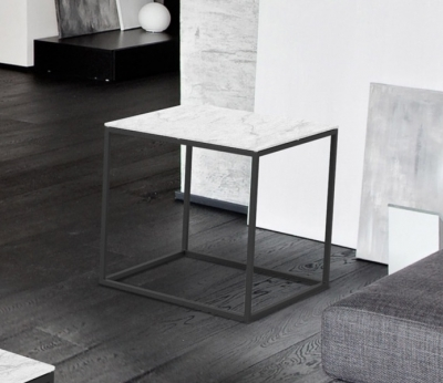 Julia Mat Marble Effect Ceramic and Black Side Table