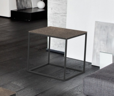 Julia Natural Ceramic and Black Side Table