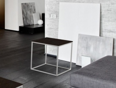 Julia Steel Ceramic and Chrome Side Table