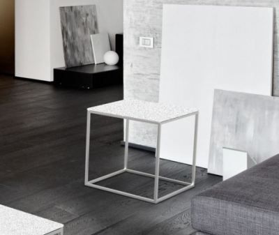 Julia White Ceramic and Chrome Side Table